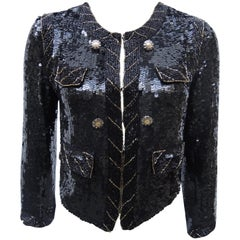 Black hand Sequinned Chanel Style  Beaded Jacket