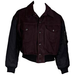 Burgundy & Black Vintage Junior Jean Paul Gaultier Bomber Jacket