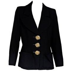 Black Yves Saint Laurent Rive Gauche Wool Blazer