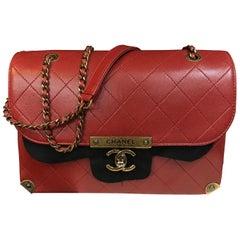 CHANEL flap bag Medium red shoulder bag quilted calfskin with antique gold 2016