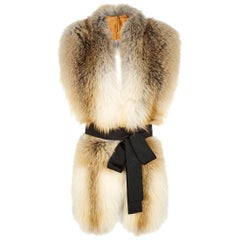 Verheyen London Legacy Stole Natural Golden Island Fox Fur - Brand New
