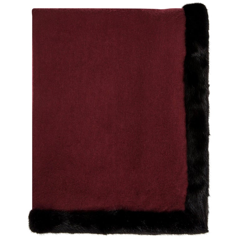 Verheyen London Mink Fur Trimmed Black & Burgundy Cashmere Shawl - Brand New For Sale