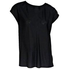 Black Chanel Silk Cap-Sleeve Blouse