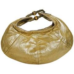Metallic Gold Jimmy Choo Leather Hobo Bag