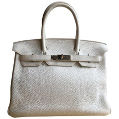 Hermes white Birkin 30cm in Clemence with palladium