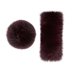 Verheyen London Large Snap on Fox Fur Cuffs in Burgundy - New