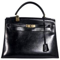 Black Vintage Hermes Kelly 32 Handbag
