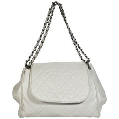 White Chanel Quilted Leather Accordion Flap Bag