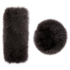 Verheyen London Large Snap on Fox Fur Cuffs in Dark Grey - New