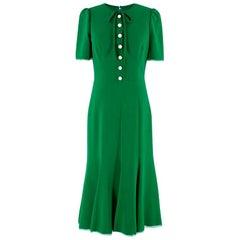 Dolce & Gabbana green button-down cady midi dress US 6