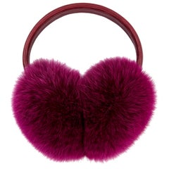 Verheyen London Ear Muffs in Pink Topaz Fox Fur - Brand New