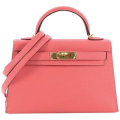 Hermes Kelly Mini II Handbag Rose Lipstick Chevre Mysore with Gold Hardware 20