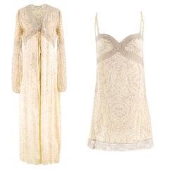 La Perla Yellow Silk & Lace Slip and Dressing Gown Set US 0-2