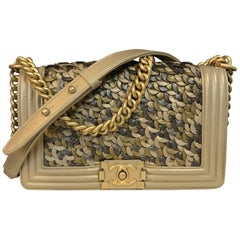 CHANEL Boy New Medium shoulder bag Limited Edition gold lambskin & antique gold