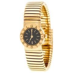 Bvlgari Black Tubogas 18K Yellow Gold Women's Wristwatch 19MM