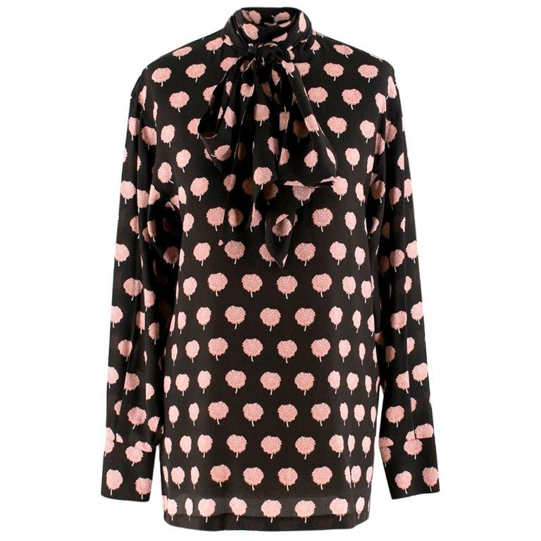 Lanvin Peony-Print Silk Shirt US 6 For Sale