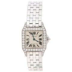 Cartier, Diamant 18k Weißgold Santos Demoiselle 2703 Damenarmbanduhr 28MM