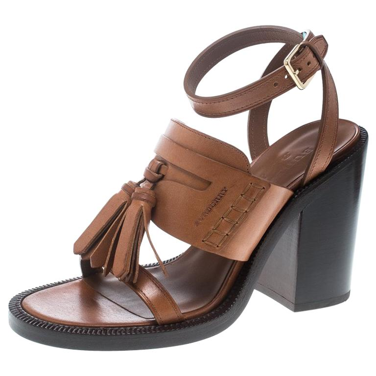 3aafe89e3461 Burberry Cognac Brown Leather Bethany Tassel Detail Block Heel Sandals Size  38 For Sale at 1stdibs