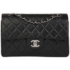 2000 Chanel Black Quilted Lambskin Small Classic Double Flap Bag