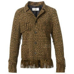 Saint Laurent Curtis Leopard-Print Fringed Suede Jacket