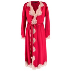 Dolce & Gabbana Lace Trim Silk Blend Robe US 0-2
