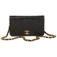1996 Chanel Black Quilted Lambskin Vintage Small Classic Full Flap Bag