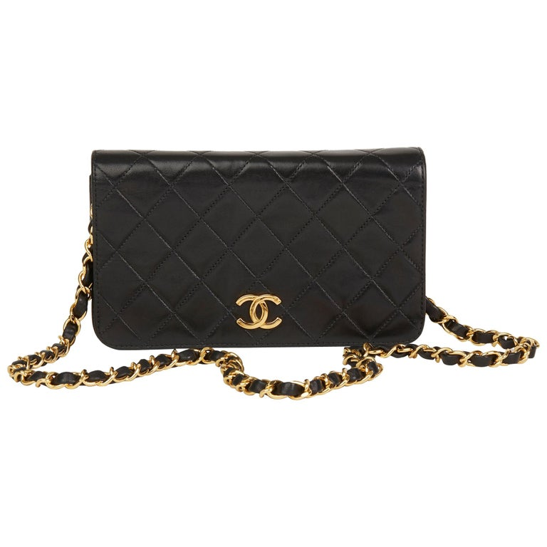 148d30fddc15 1996 Chanel Black Quilted Lambskin Vintage Small Classic Full Flap Bag For  Sale.