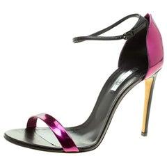 Casadei Metallic Black Leather Candylux Ankle Strap Open Toe Sandals Size 41