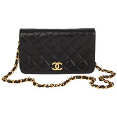 1996 Chanel Black Quilted Lambskin Vintage Mini Flap Bag