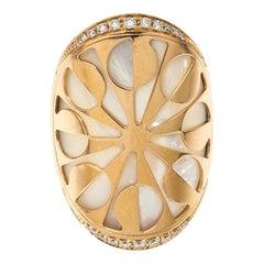 Bvlgari Intarsio Diamond Mother of Pearl 18K Rose Gold Ring