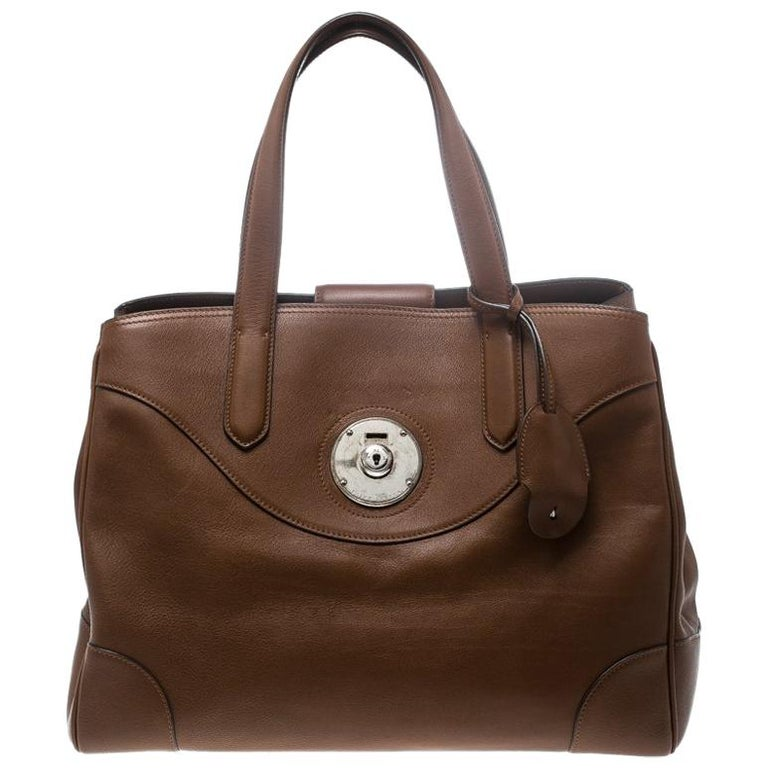 ae66e6aeac5e Ralph Lauren Brown Leather Ricky Tote For Sale at 1stdibs