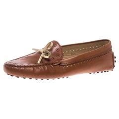 Tod's Brown Slipper aus perforiertem Leder, Größe 36,5