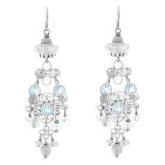 Elizabeth Showers Blue Topaz Silver Dangle Earrings