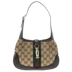 Gucci Beige/Brown GG Canvas and Leather Mini Jackie Hobo