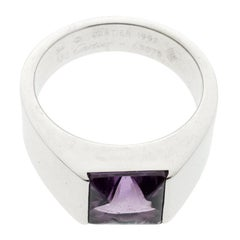 Cartier Tank Amethyst 18K White Gold Ring Size 54