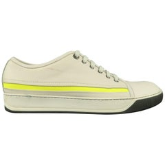 LANVIN Size 10 Off White Leather Neon Stripe Lace Up Sneakers