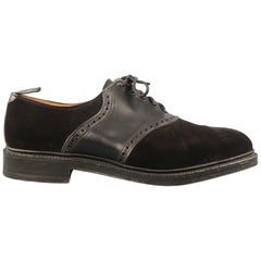BLACK FLEECE Size 9.5 Black Suede & Leather Perforated Derby Lace Up Shoes