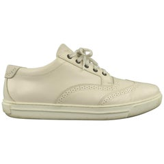 GIORGIO ARMANI Size 12 White Leather Brogue Wingtip Sneakers