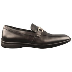 SALVATORE FERRAGAMO Size 8 Black Leather Silver Metal Gancini Loafers