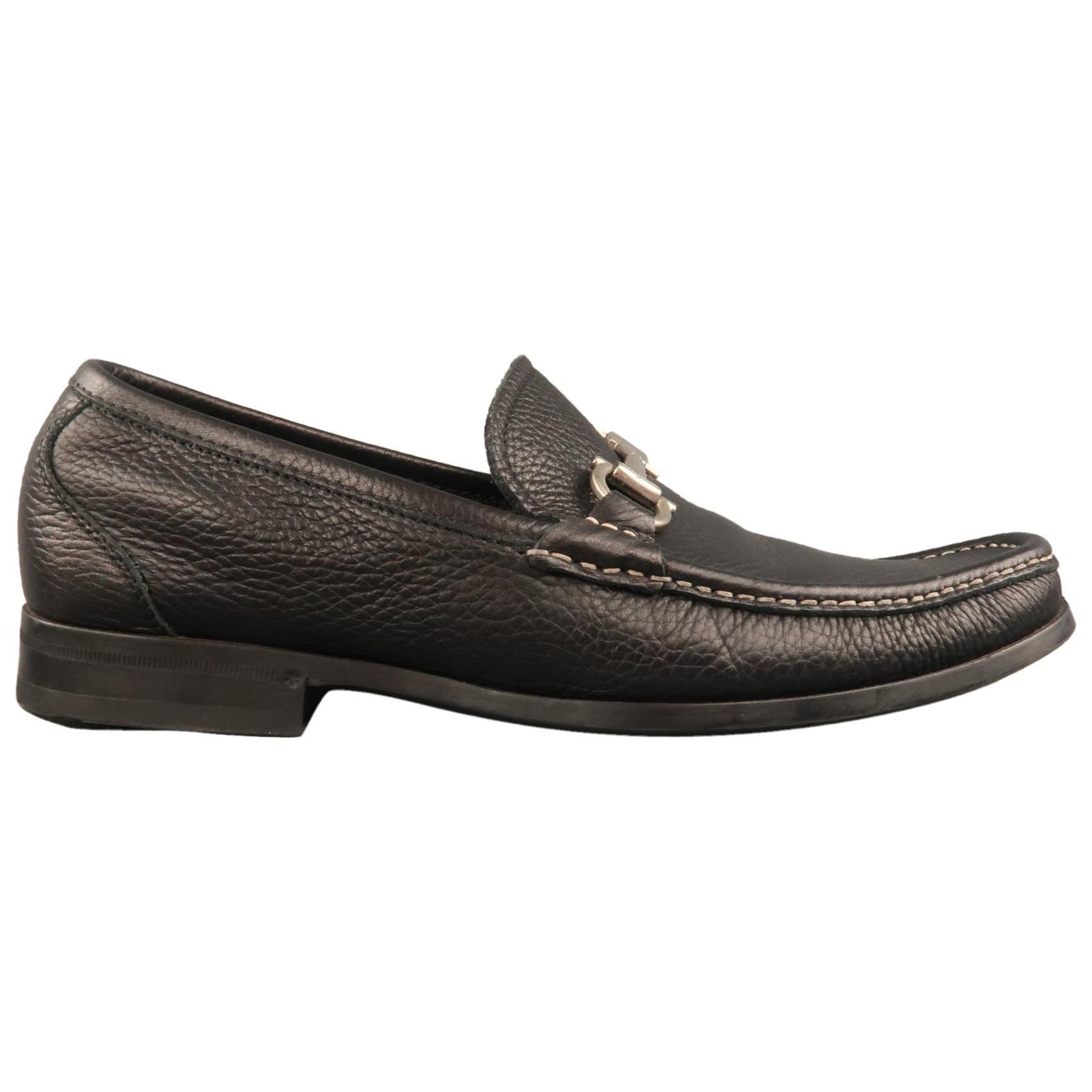 SALVATORE FERRAGAMO Size 8 Black Textured Leather Silver Gancini Loafers