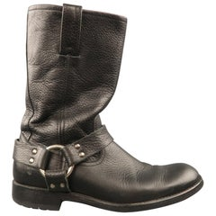FRYE Size 8 Black Textured Leather Pull On Biker Harness Boots