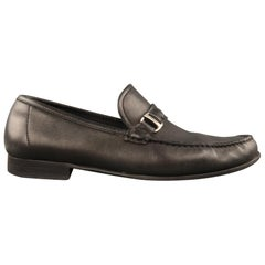 SALVATORE FERRAGAMO Size 9.5 Black Leather Slip On Silver Buckle Loafers