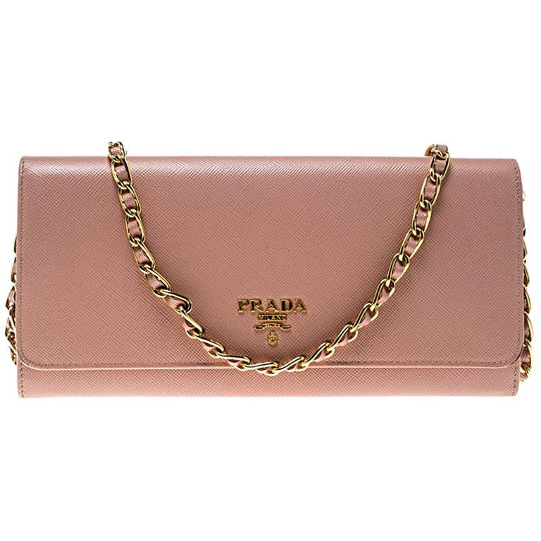 e6925d91c68e Prada Pink Saffiano Metal Leather Wallet on Chain For Sale at 1stdibs