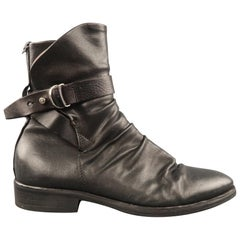 A.S 98 Size 10 Black Ruched Leather Ankle Strap Boots