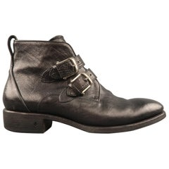 JOHN VARVATOS Size 10 Black Leather Buckled Strap Ankle Boots