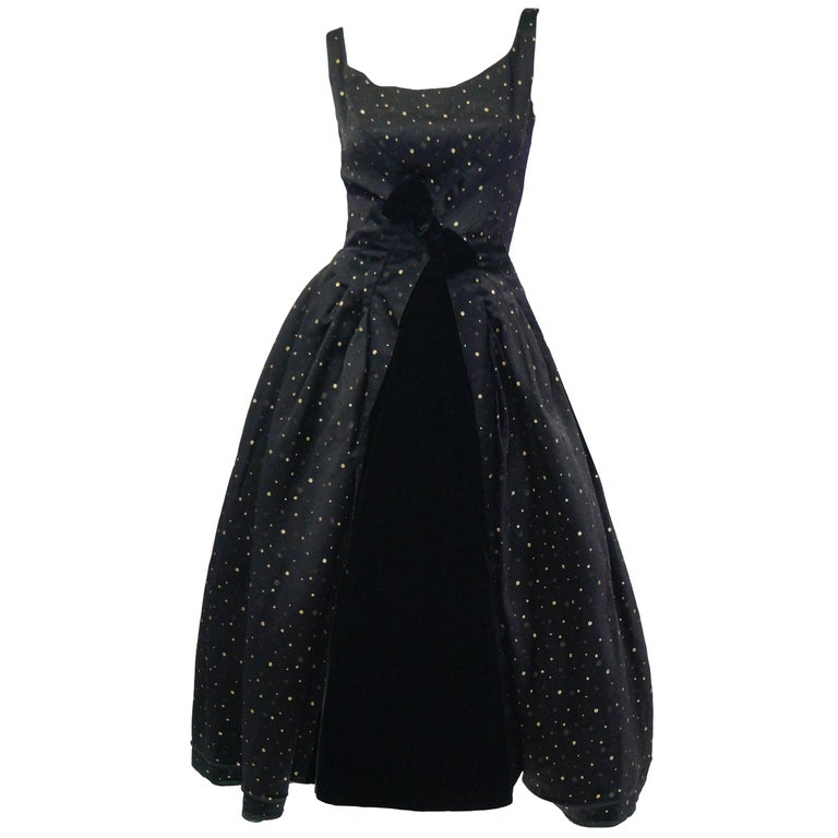 0e870020 1950s Suzy Perette Black and Gold New Look Evening Dress with Shimmer Dot  and For Sale