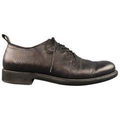 JOHN VARVATOS Size 10 Black Pebbled Leather Lace Up Derby