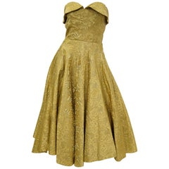 1950s Gold Floral & Peacock Brocade New Look Meets Bombshell Evening Dress