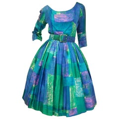 1950s Suzy Perette Blue and Green Geometric Watercolor New Look Cocktail Dress