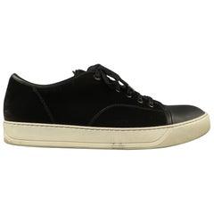 LANVIN Size 10 Charcoal Velvet & Black leather Lace Up Cap Toe Low Top Sneakers